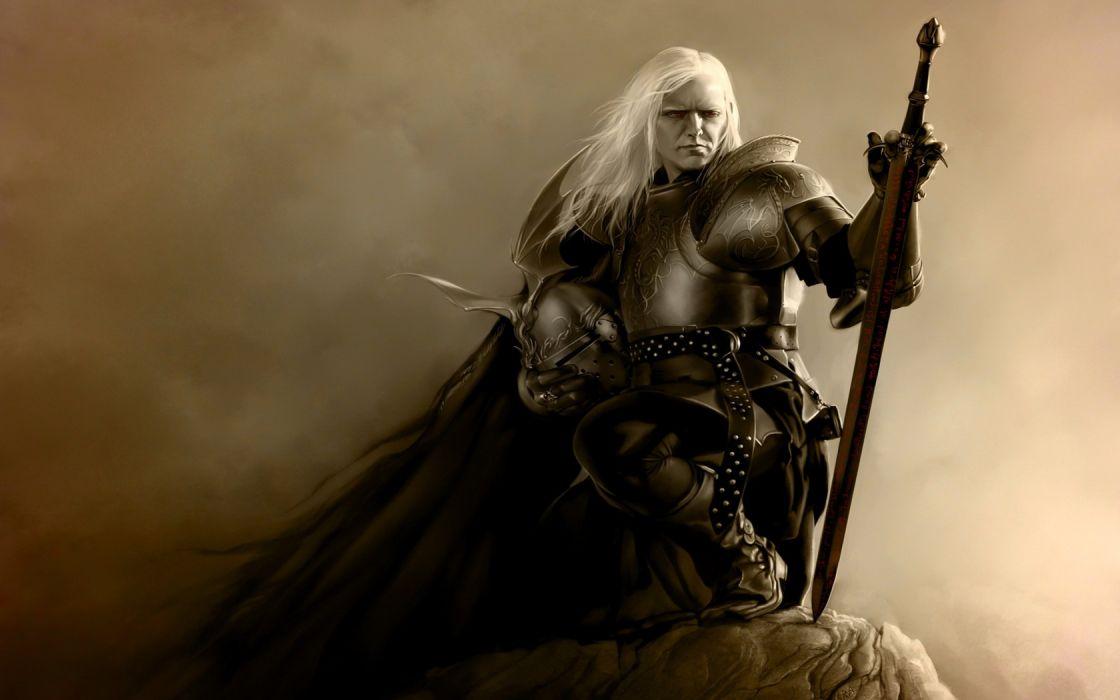 fantasy art armor artwork warriors white hair wallpaper