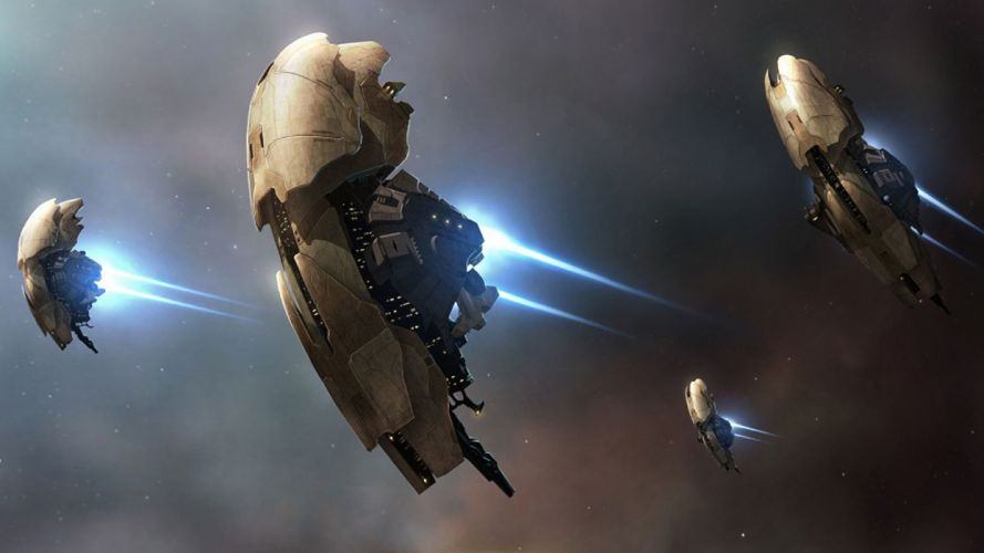 outer space EVE Online spaceships ray beams science fiction vehicles wallpaper