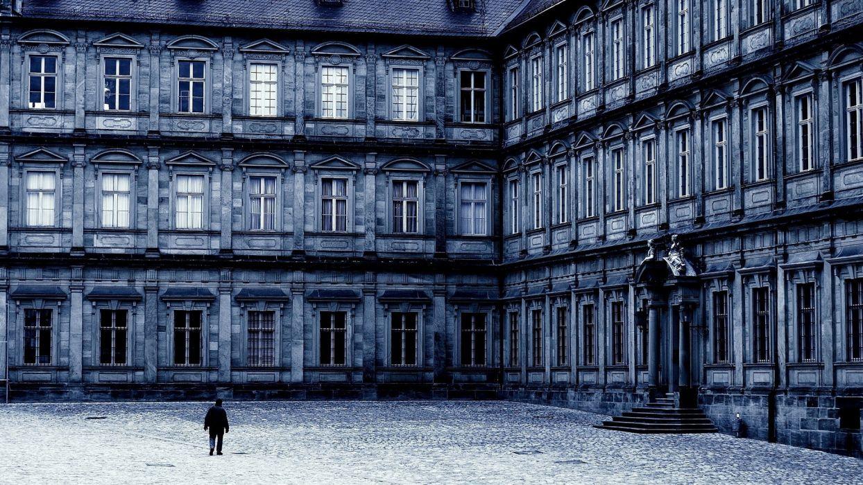 blue architecture buildings courtyard wallpaper