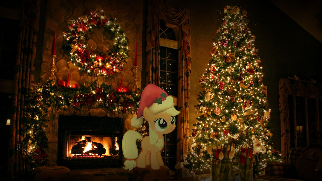 Christmas trees My Little Pony Applejack wallpaper