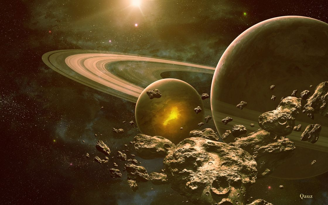 outer space planets rings digital art science fiction asteroids QAuZ wallpaper