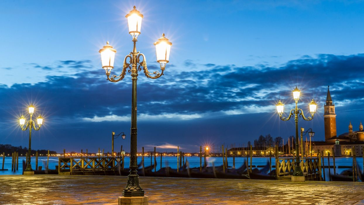 clouds lights Venice Italy squares post cities nights man-made wallpaper