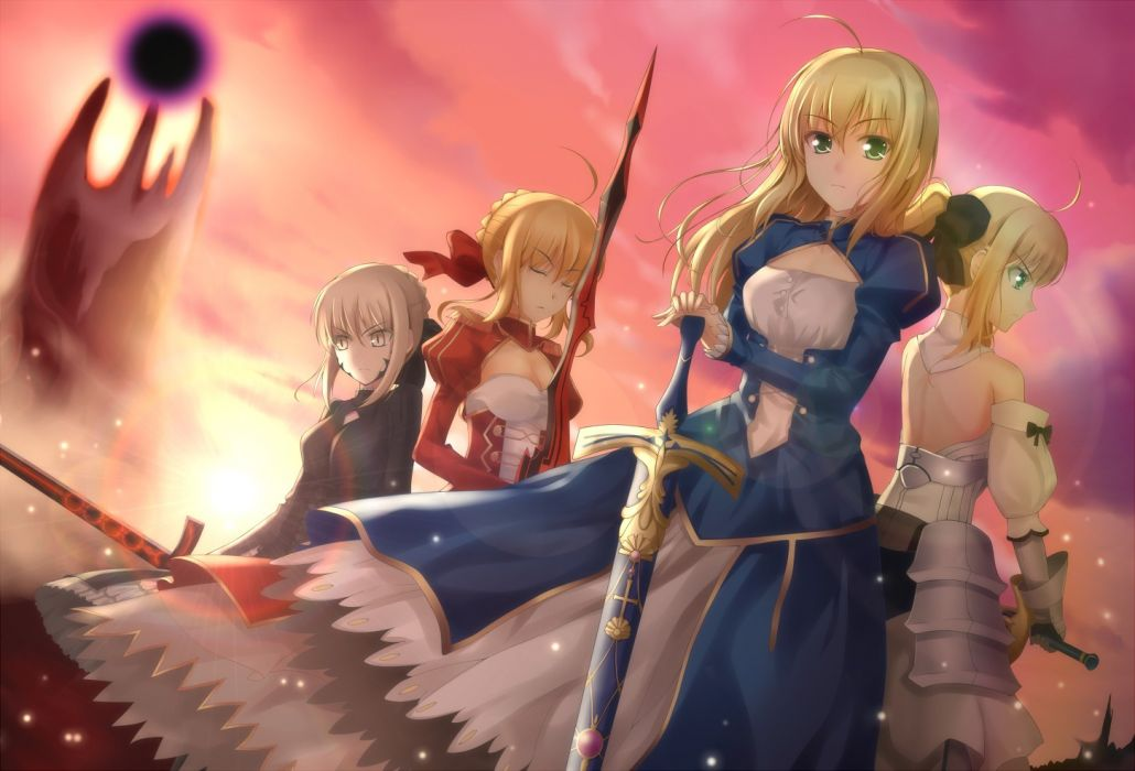 blondes Fate/Stay Night dress ribbons weapons green eyes yellow eyes Fate Unlimited Codes Saber  closed eyes hair ribbons Saber Lily swords hair ornaments Fate/EXTRA Saber Alter Saber Extra Fate series wallpaper