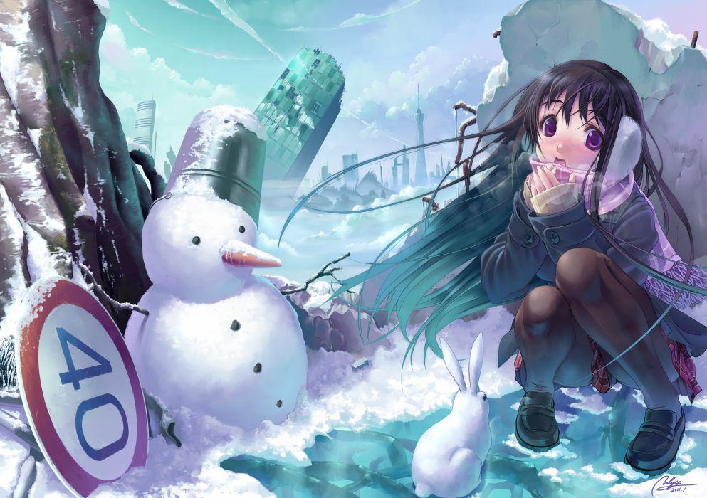 winter cityscapes anime snowman wallpaper