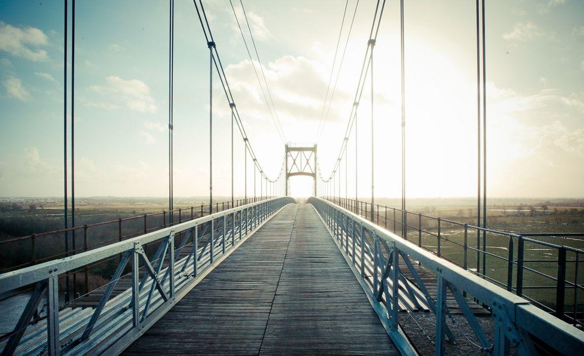 distance city landscape bridge wire wallpaper