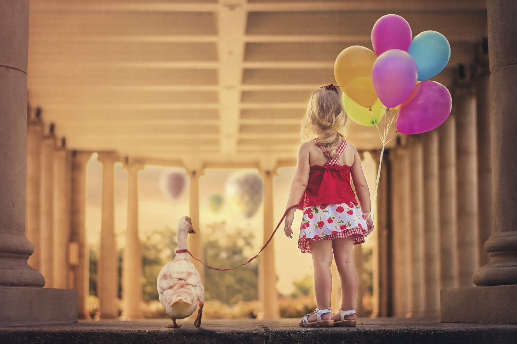 girl beads goose dress leash balloon  f wallpaper