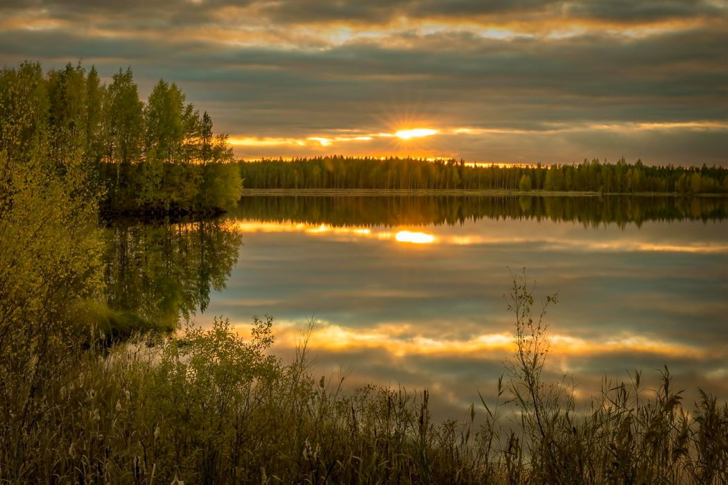 landscape nature sunset sky clouds sun lake reflection wallpaper