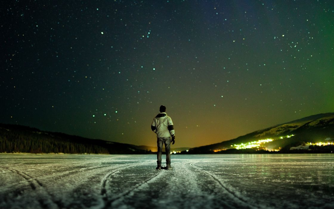 night stars man ice lake winter wallpaper