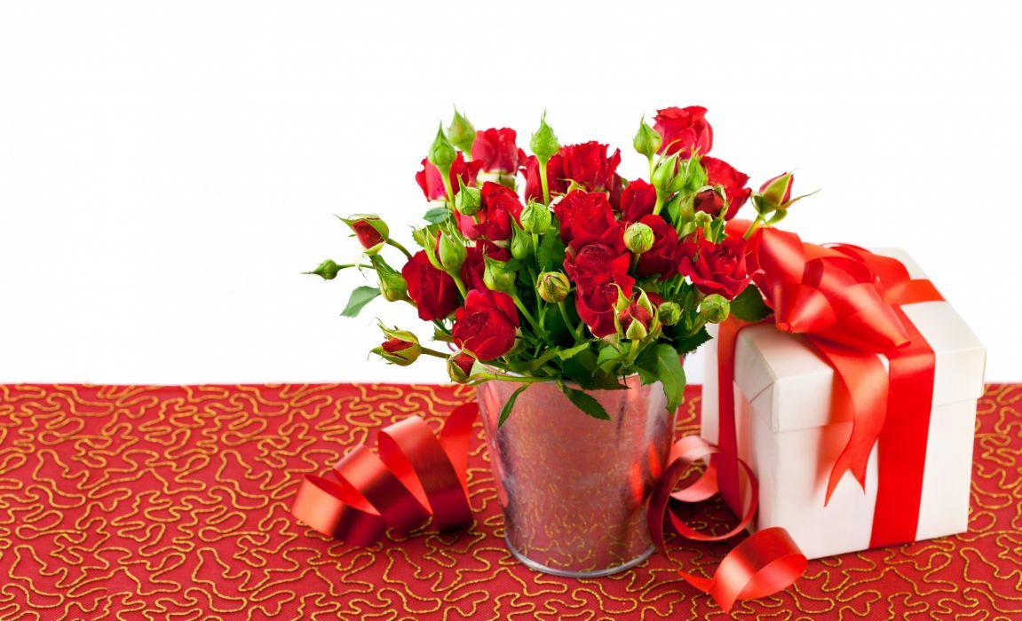 roses buds gift box bucket valentine wallpaper