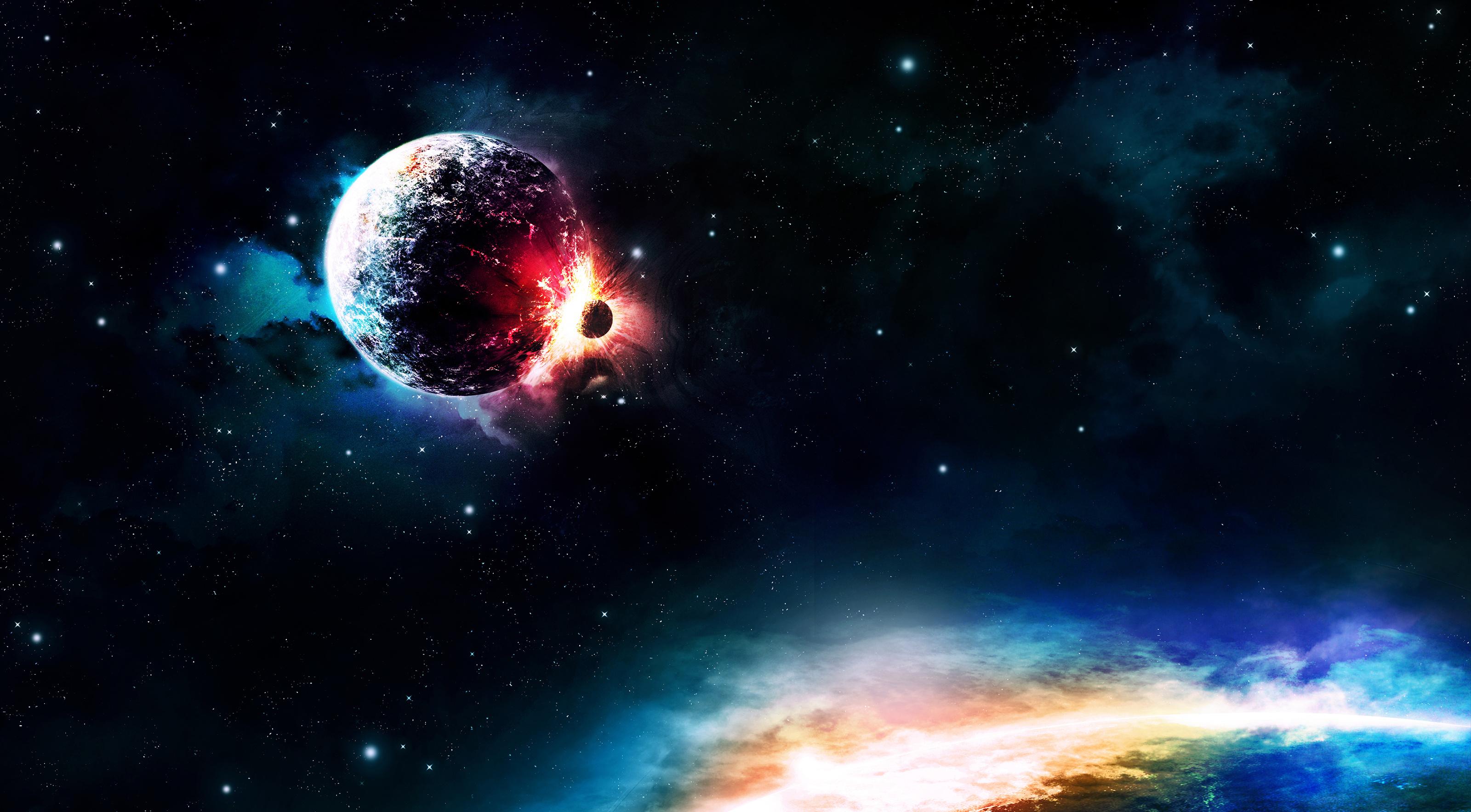 Colors sci fi collision planet light stars wallpaper for Sfondi desktop universo