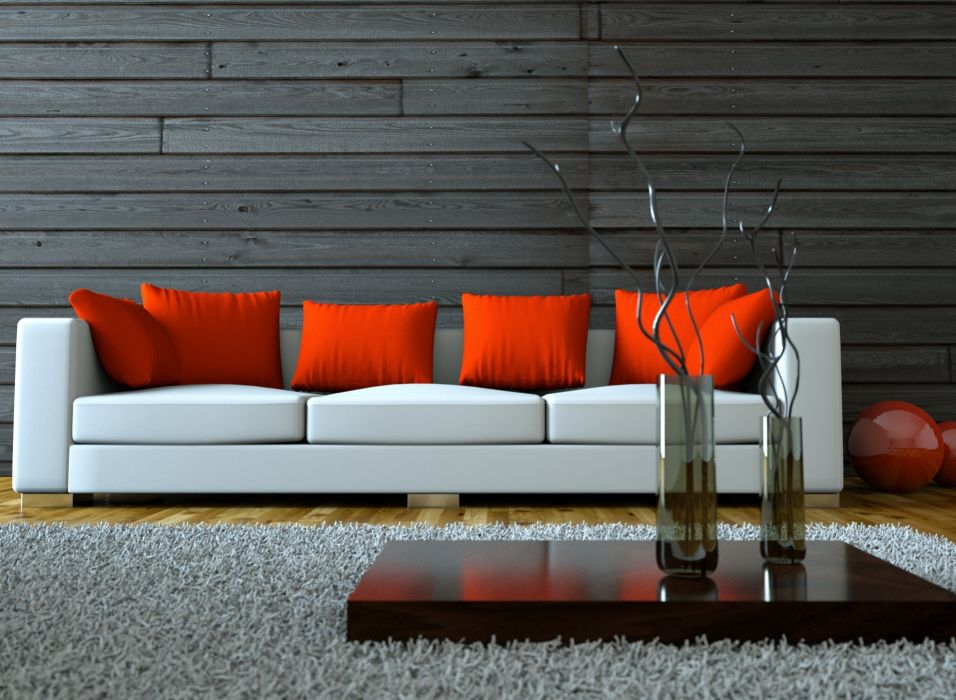 home design vase white sofa stylish red pillow wallpaper