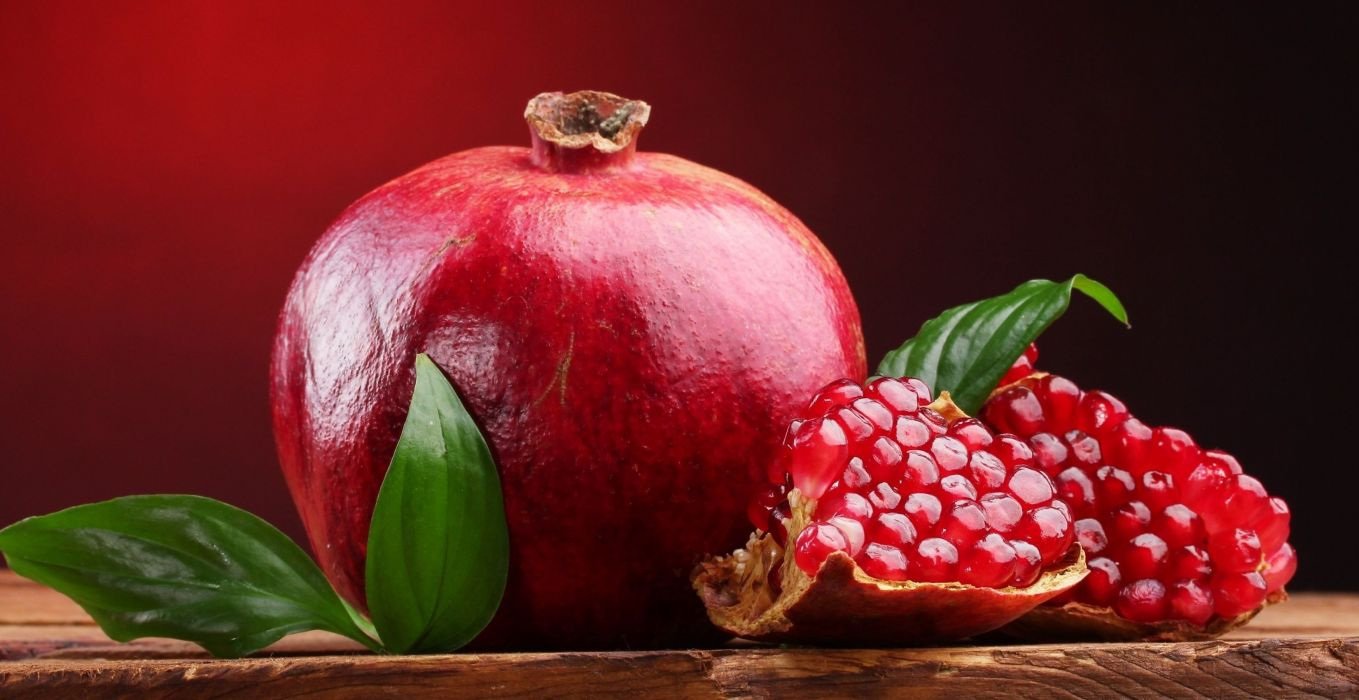 leaves fruit red food pomegranate wallpaper