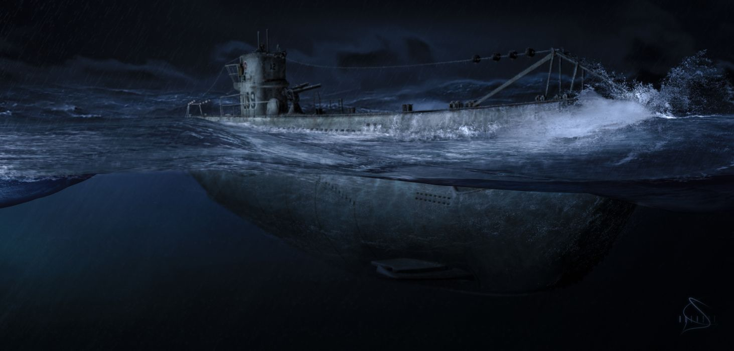 ocean night submarine art military wallpaper