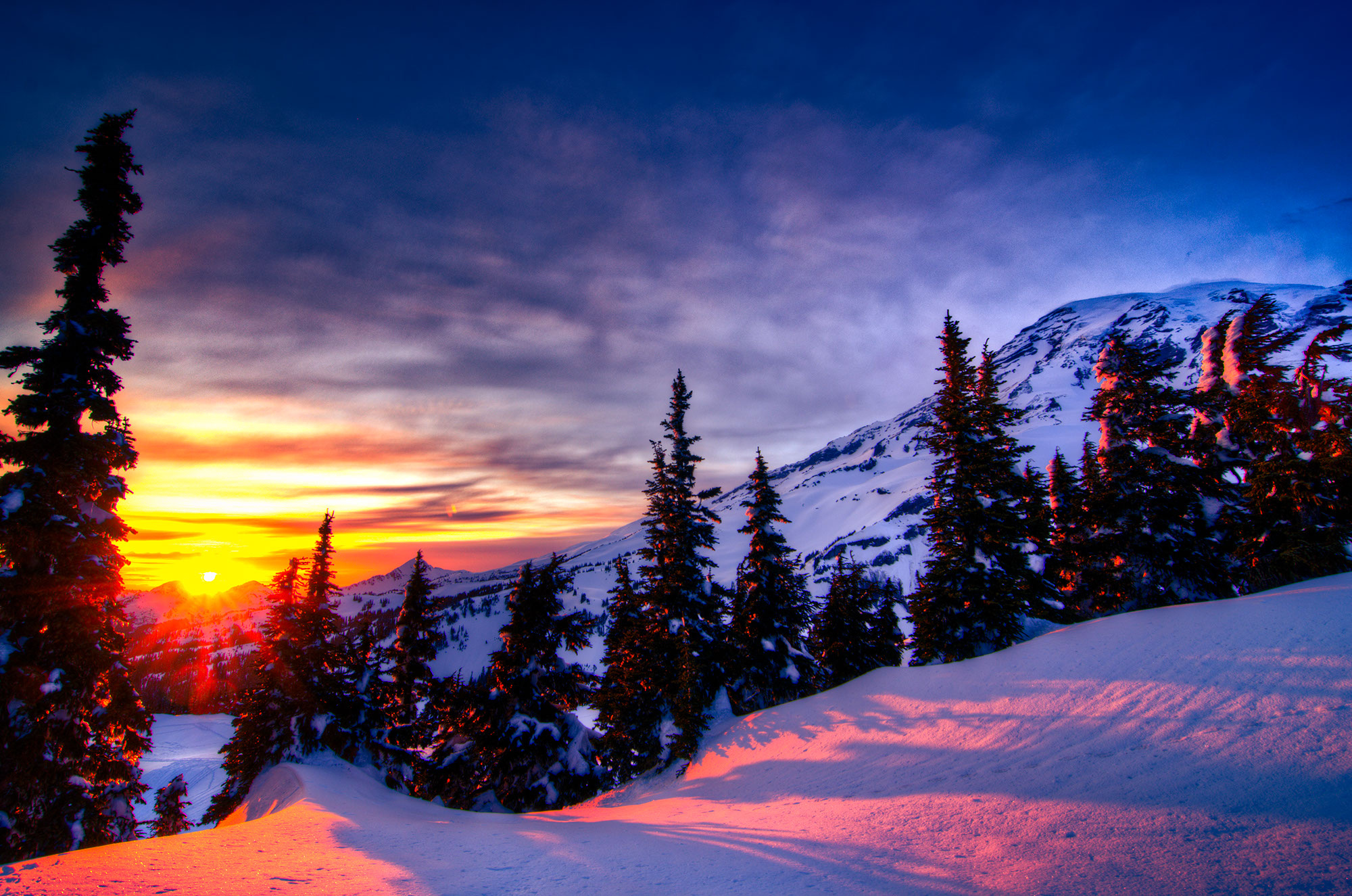 Sunset Winter Trees Mountains Landscape Wallpaper 2000x1325 228390 Wallpaperup