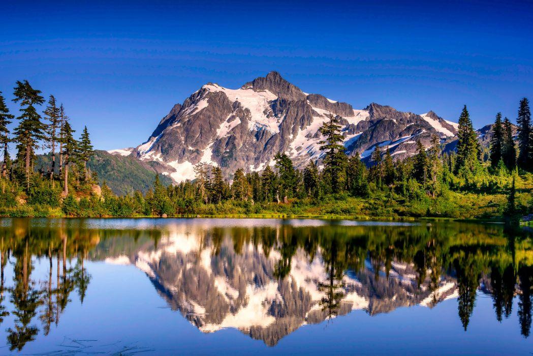 USA Washington lake reflection mountain wallpaper