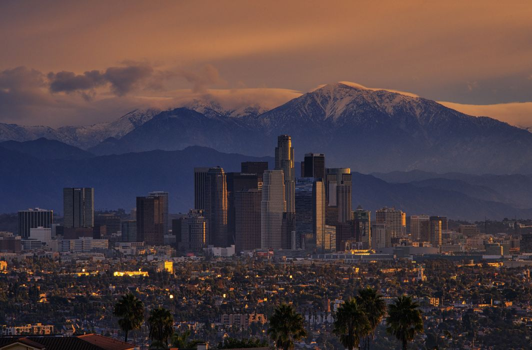 california city Los Angeles mountains wallpaper