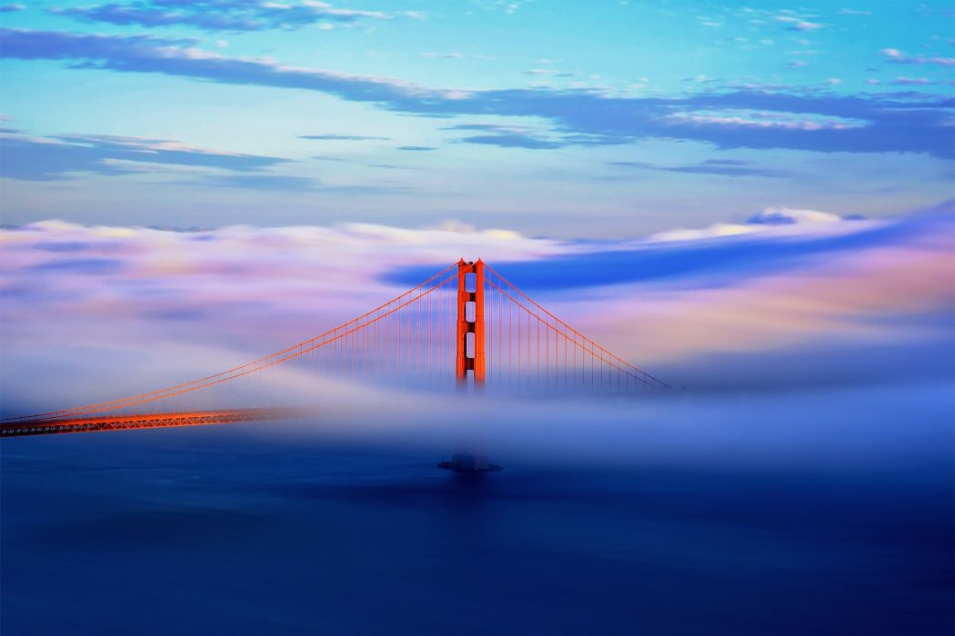 california san francisco city usa bridge fog clouds wallpaper