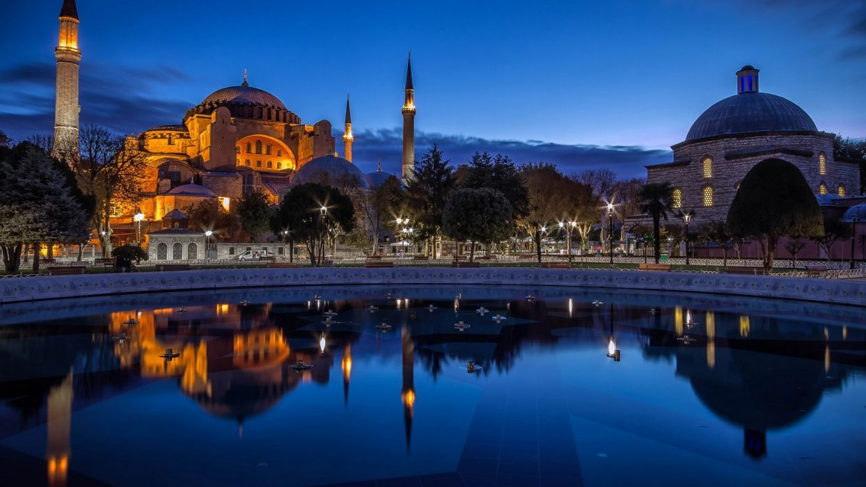 istanbul turkey city evening mosque fountain reflection wallpaper