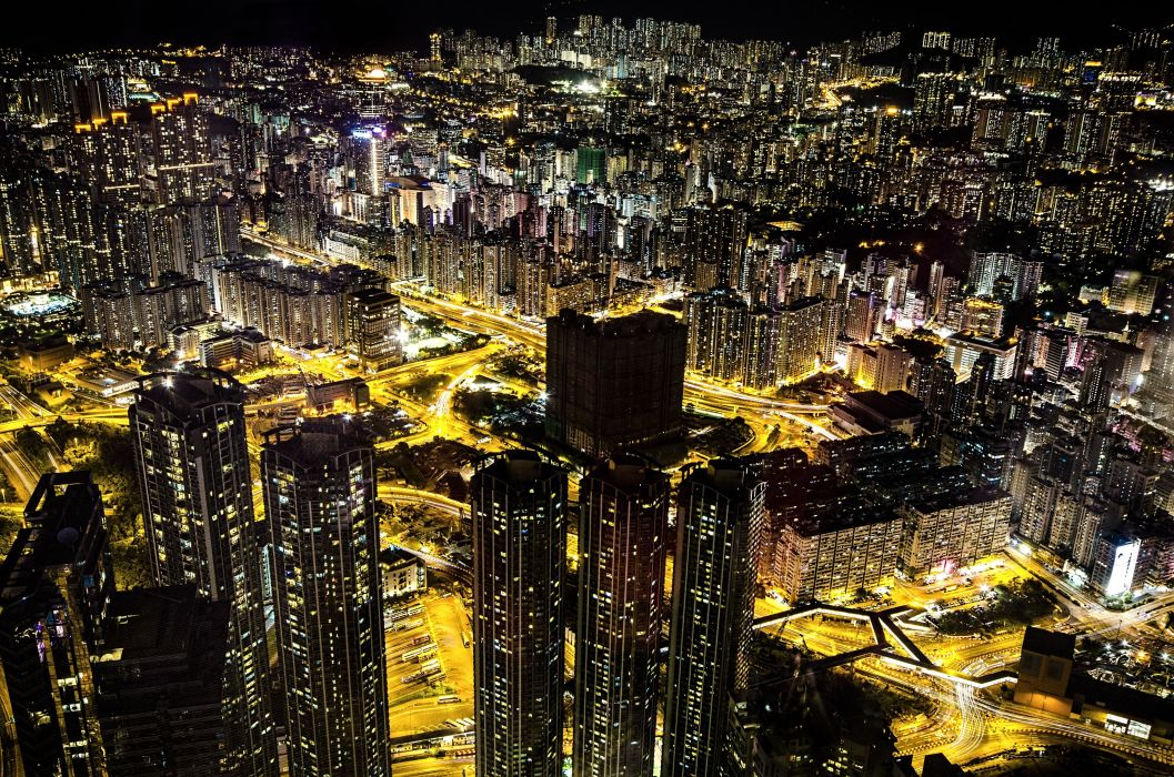 Hong Kong city night lights wallpaper