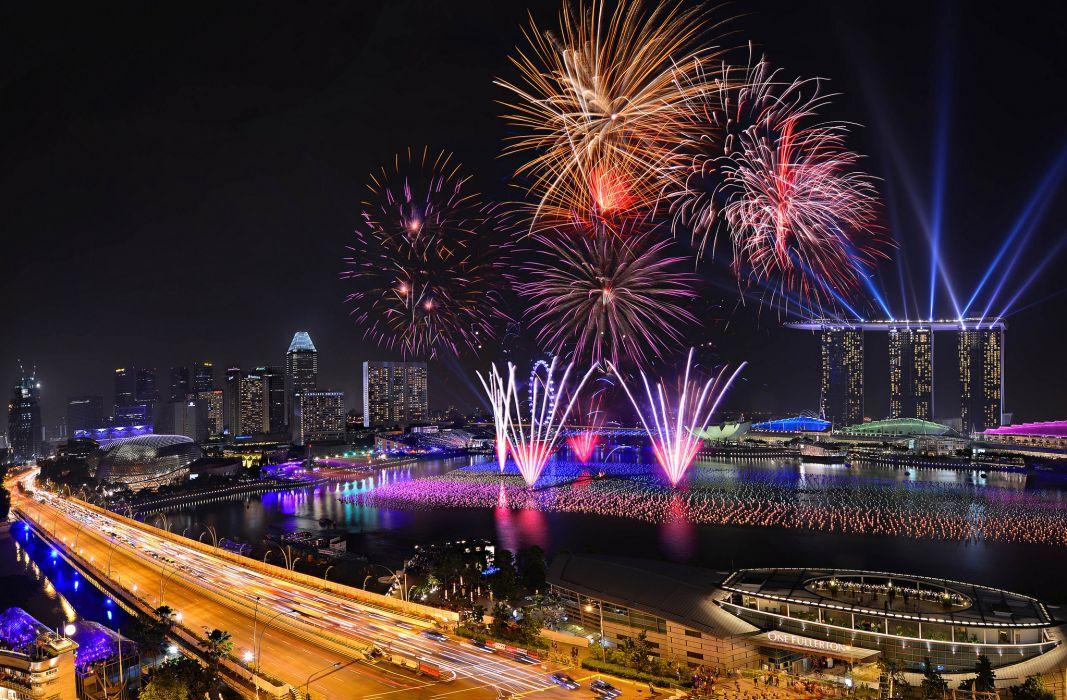 singapore fireworks night 2014 new year wallpaper