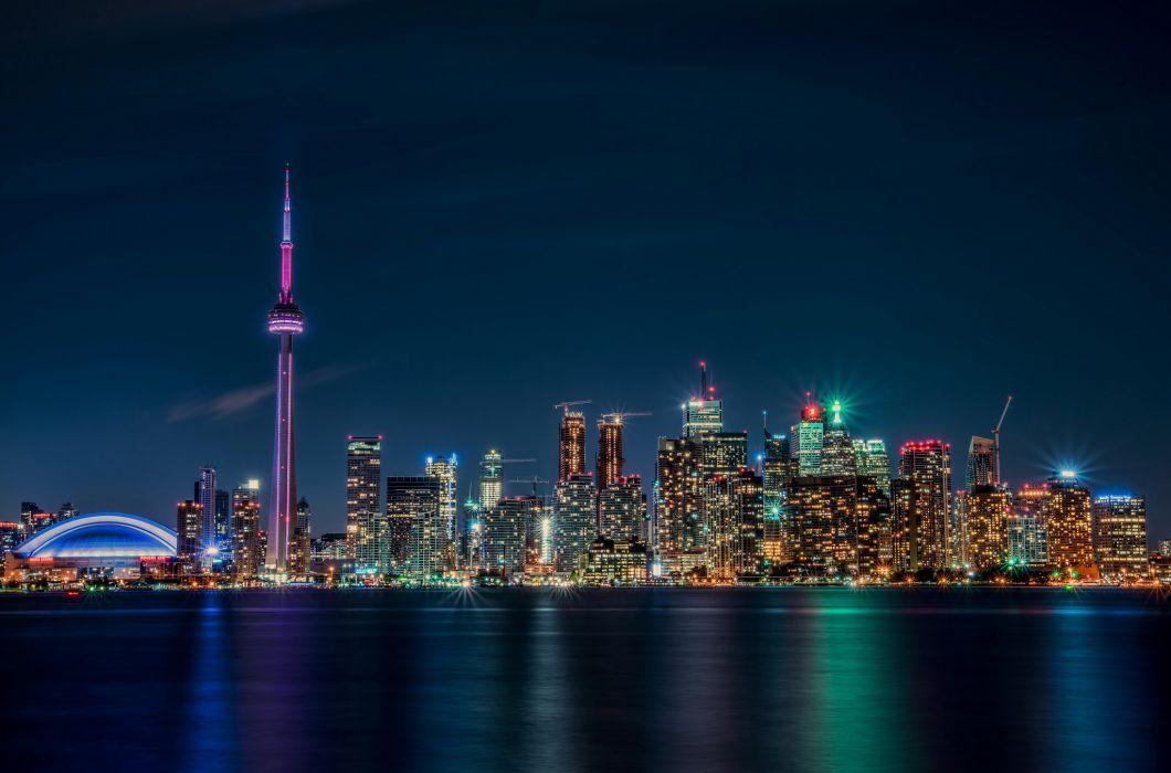 Toronto lights canada ontario nigh wallpaper