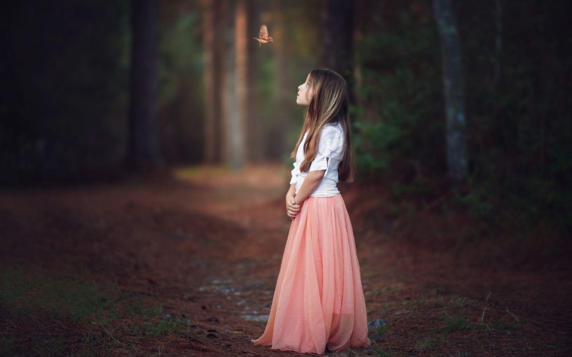 child a girl bird forest butterfly mood child wallpaper
