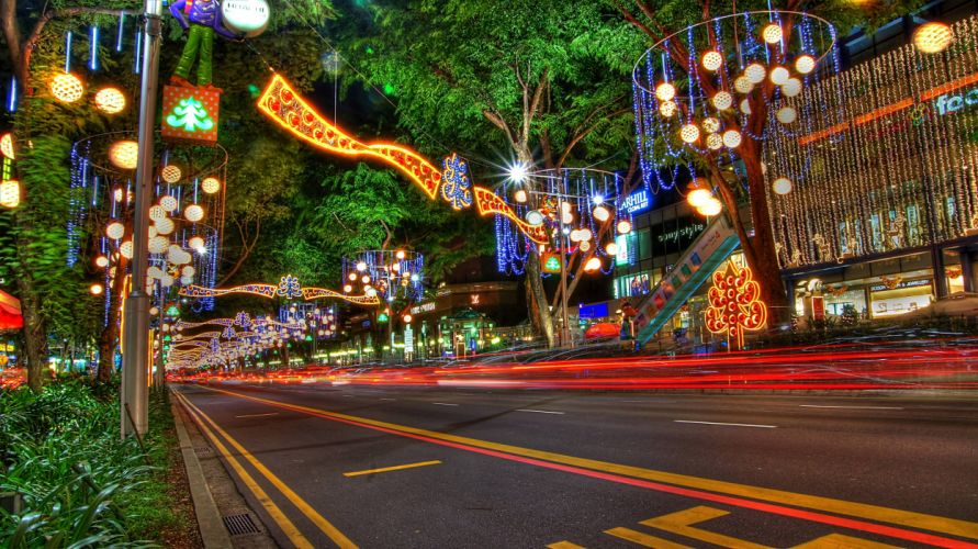 Christmas New Year Decorations on Orchard Road Singapore wallpaper
