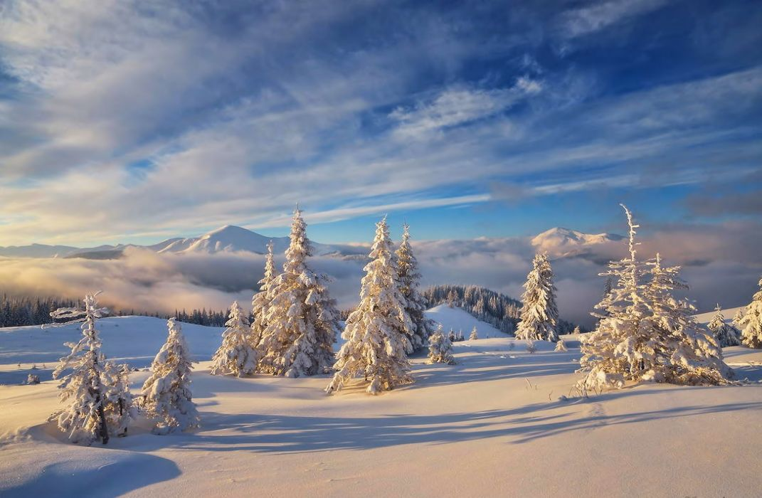 landscape nature winter snow mountains sky clouds wallpaper
