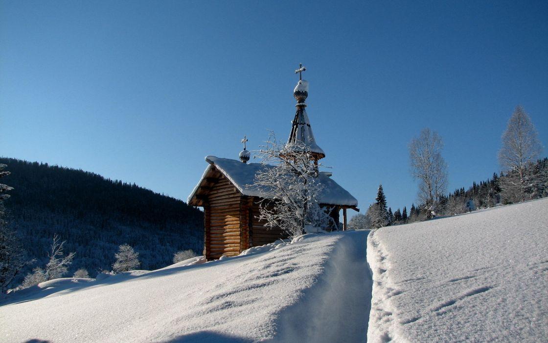 snow drifts house temple church sky winter religion wallpaper