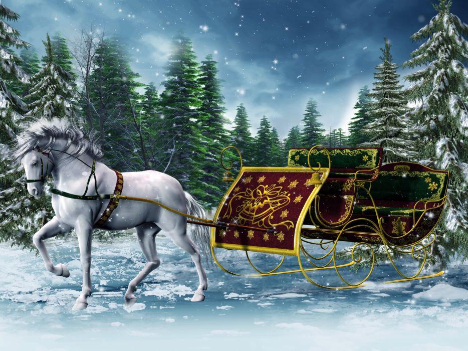 sleigh 3d horse winter graphics wallpaper