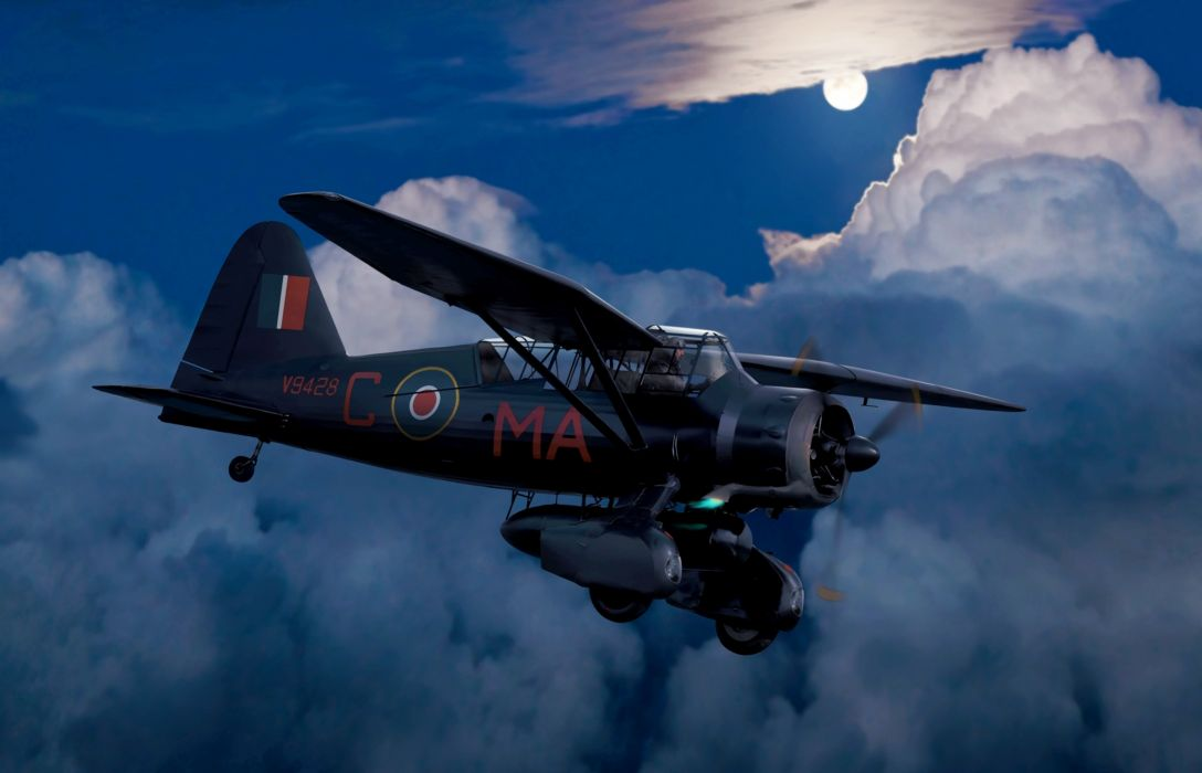 art night sky airplane Lusander British multi-purpose scout night bomber clouds moon WW2 drawing military wallpaper