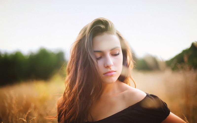 beautiful girl hair face lips eyes clothes mood blonde wallpaper