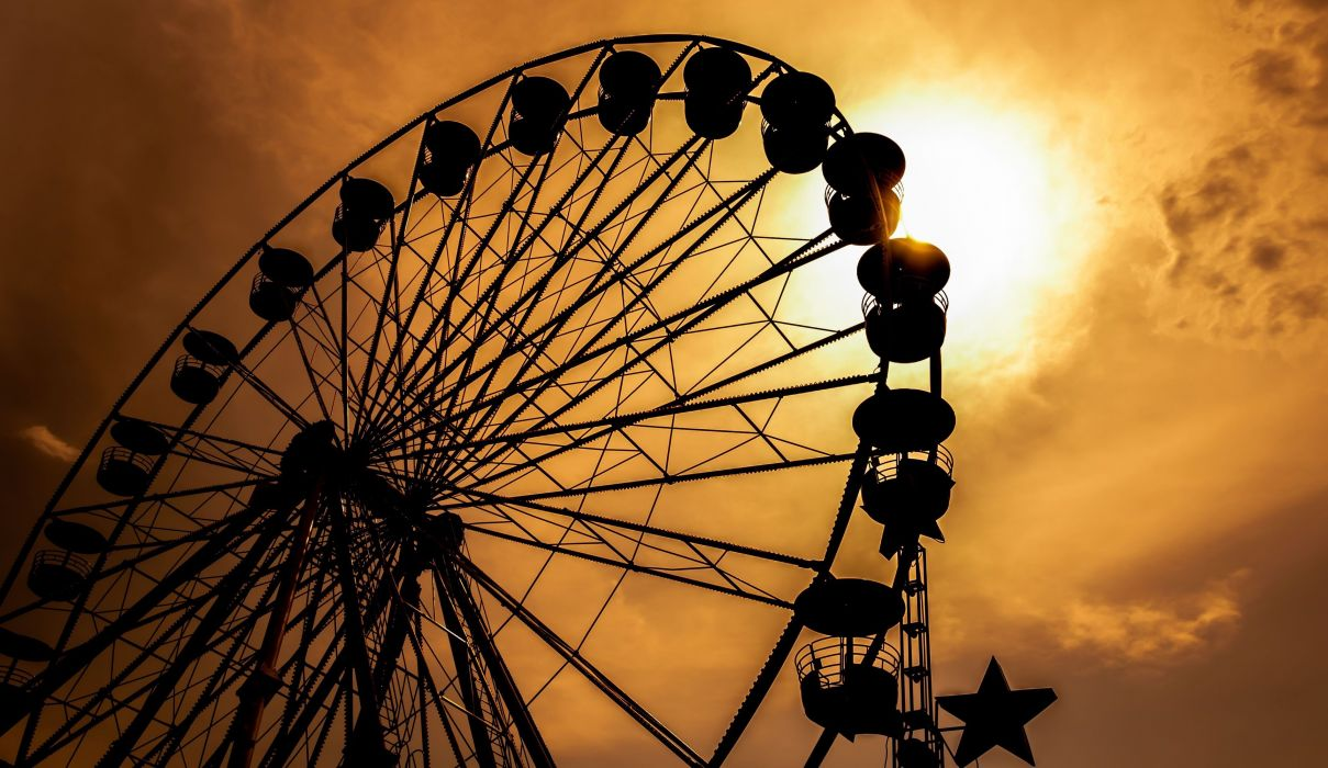 mood ride Ferris wheel nostalgia sunset sun sky silhouette wallpaper