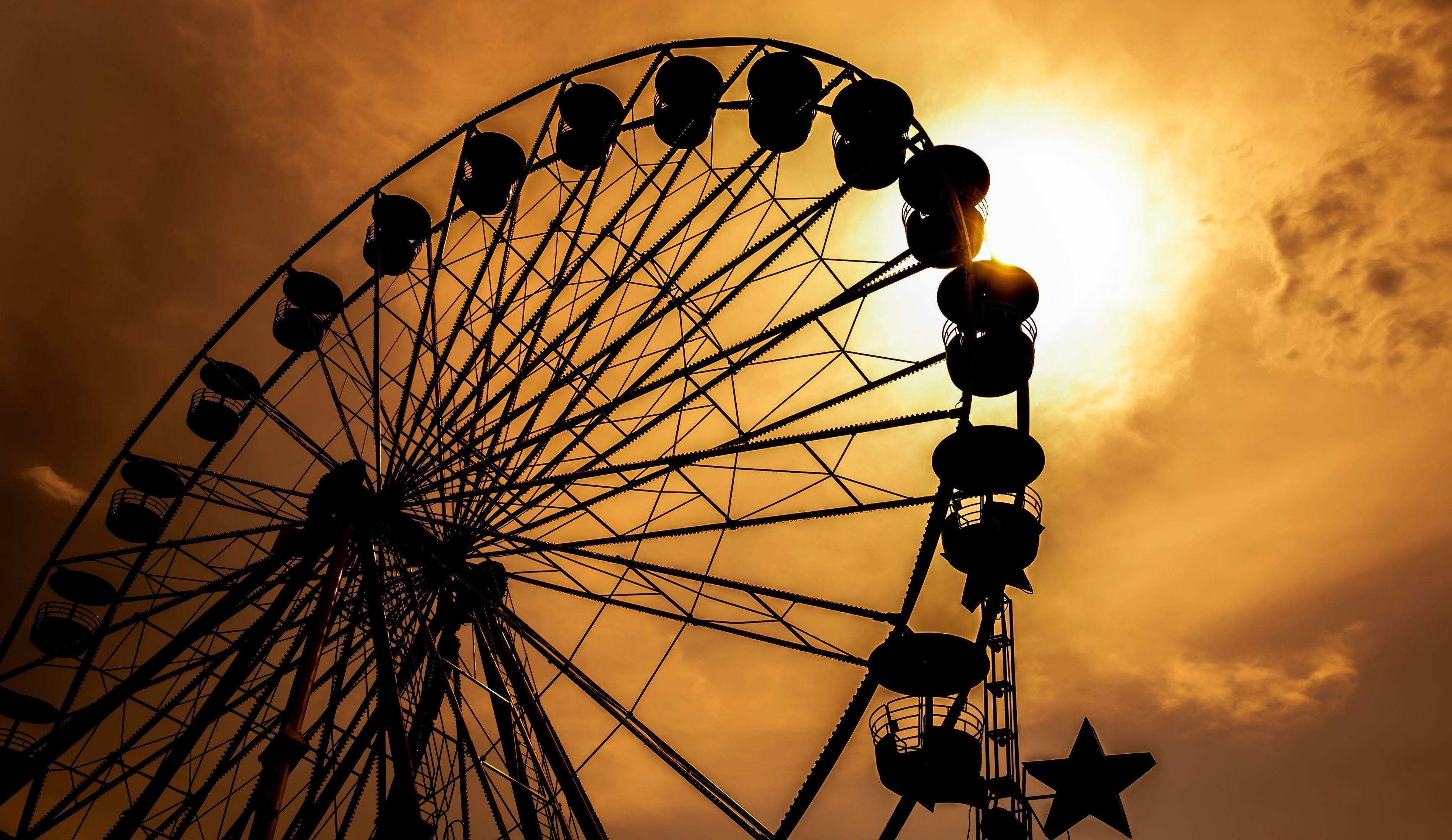 Mood ride Ferris wheel nostalgia sunset sun sky silhouette ...