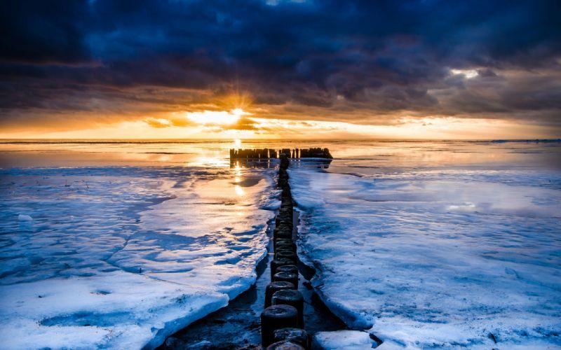 nature scenery sea river water ocean ice winter sunset sunrise wallpaper