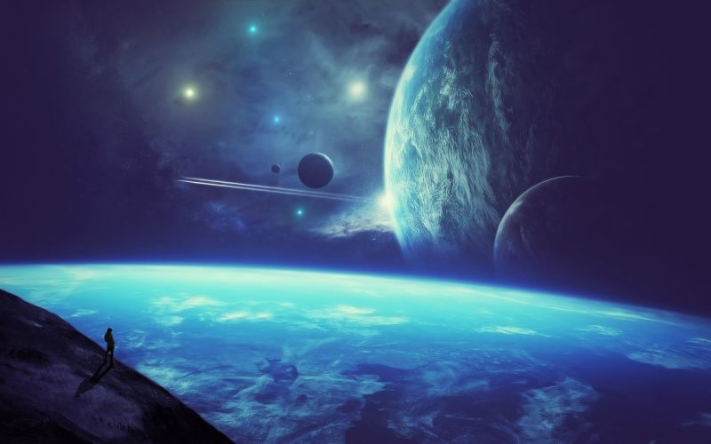planet space person stars wallpaper