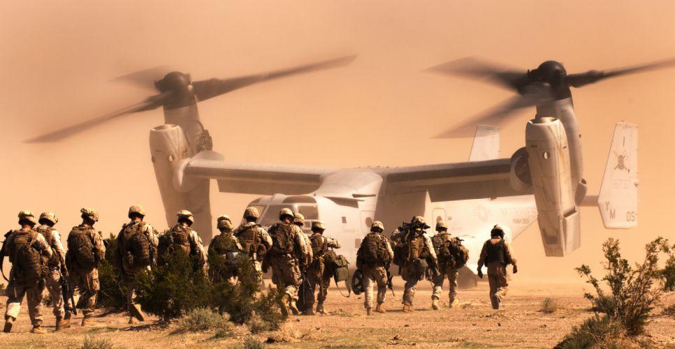 Soldier Marines Bell V-22 Osprey a tiltrotor the desert military wallpaper