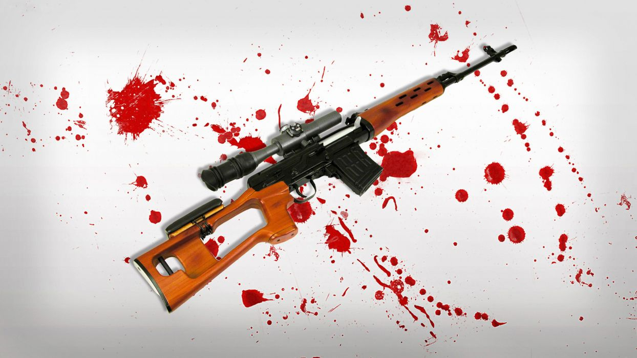 SVD sniper rifle sniper blood_ Spot weapon gun military wallpaper