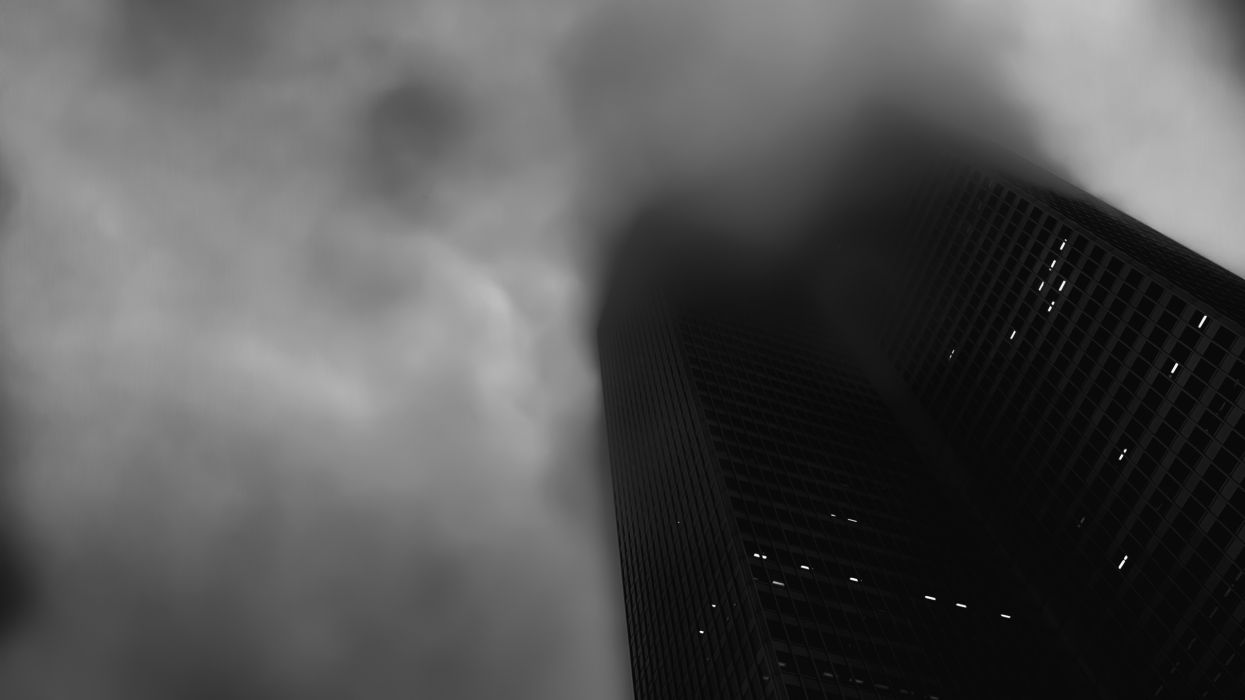 Building Skyscraper B-W Clouds wallpaper