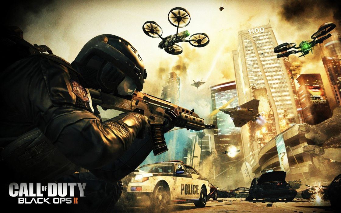 Call of Duty COD Black Ops Soldier Drone Rifle wallpaper