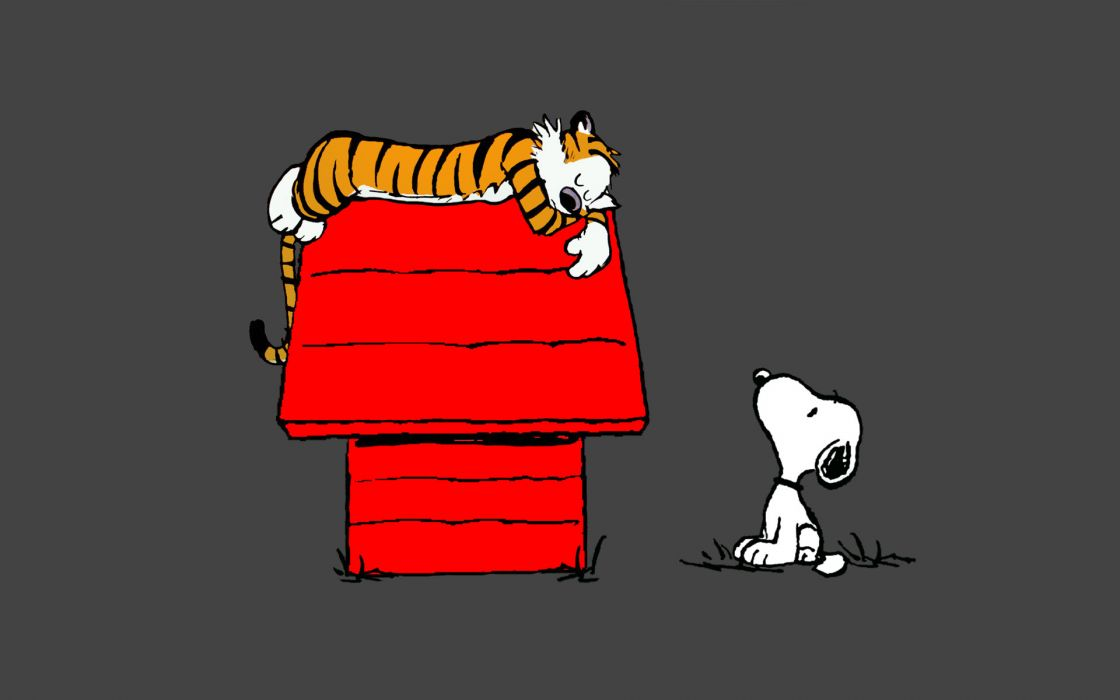 Calvin and Hobbes Snoopy Sleep peanuts tiger wallpaper