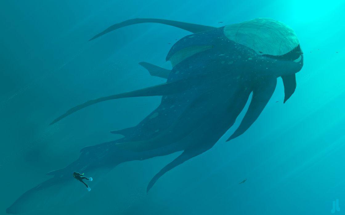 Monster Underwater Diver wallpaper