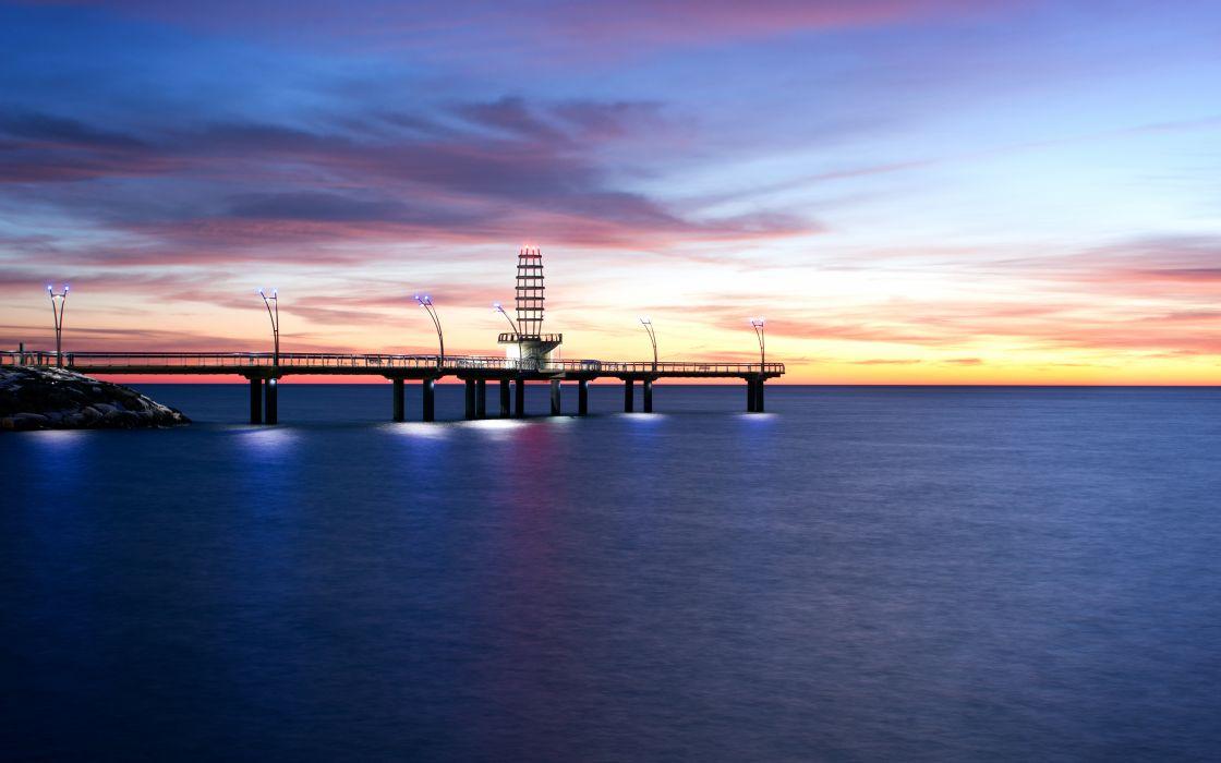 Pier Ocean Sunset wallpaper