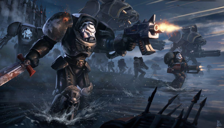Warhammer 40k Space Marines sci-fi warrior mech mecha weapon gun battle wallpaper