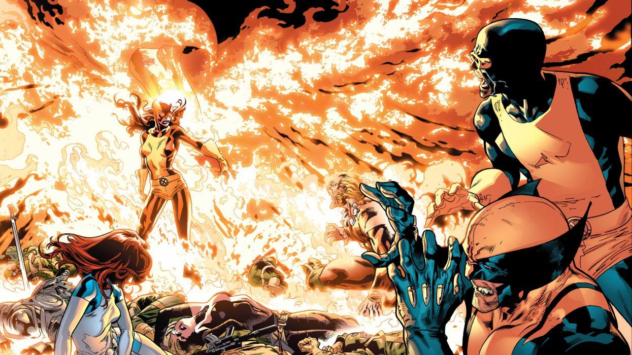 X-Men Marvel Wolverine Phoenix Fire wallpaper