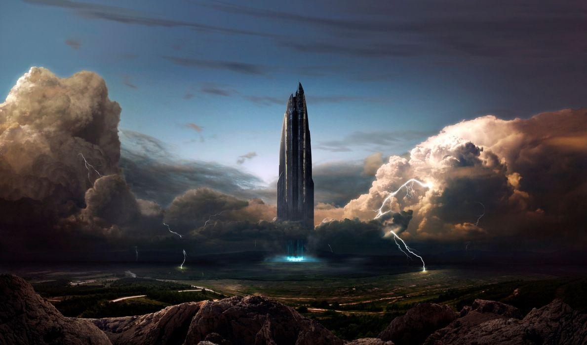 Fantastic world Clouds Lightning spaceship city cities wallpaper