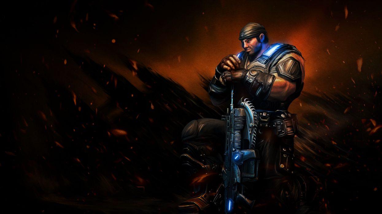 Gears of War Warrior Games Fantasy weapon gun sci-fi wallpaper