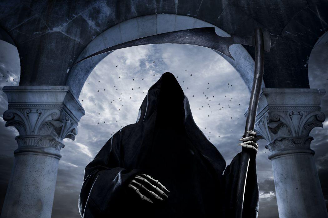 Gothic Undead Scythe Hood headgear Fantasy reaper skeleton wallpaper