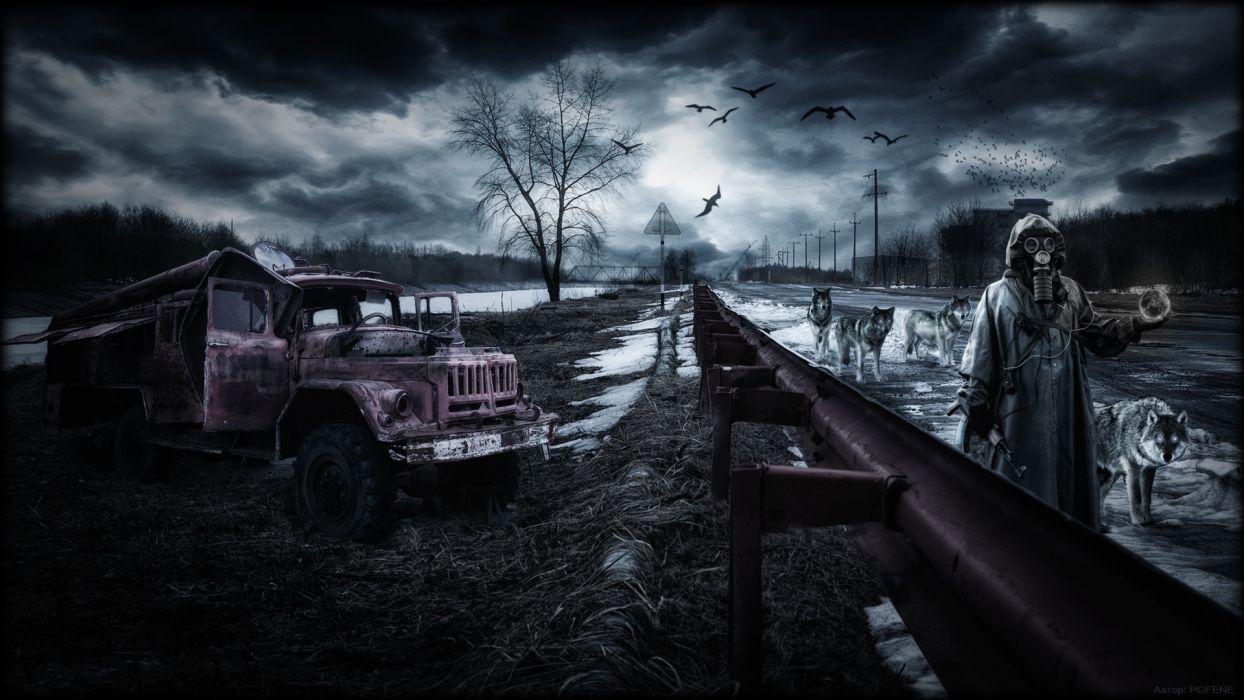 stalker pripyat chernobyl ukraine rain area night wolf wolves apocalyptic dark wallpaper