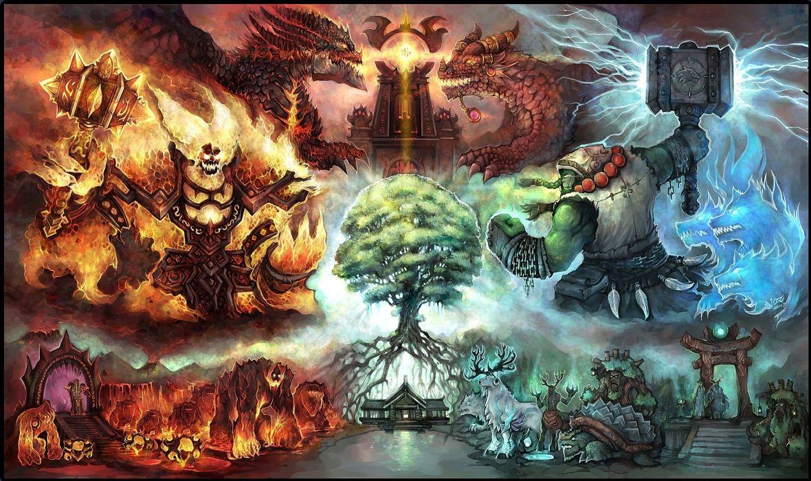 World of WarCraft ( WoW ) Monster Dragon Warrior Games Fantasy wallpaper